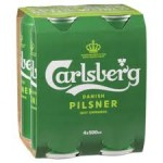 Carlsberg Pilsner Green Cans 550ml (4 pack)